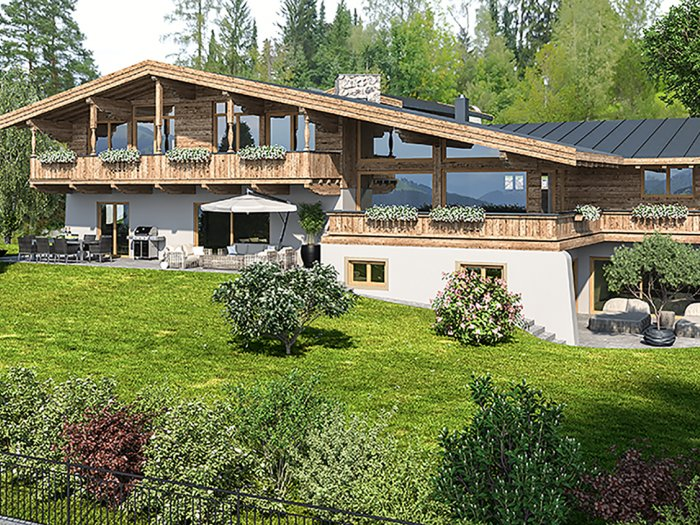 Immobilie in 6370 Kitzbühel : Kitzbühel: Exklusive Highend-Villa zum Erstbezug mit unverbaubarem Panoramablick. Zweitwohnsitzwidmung! - Bild 1