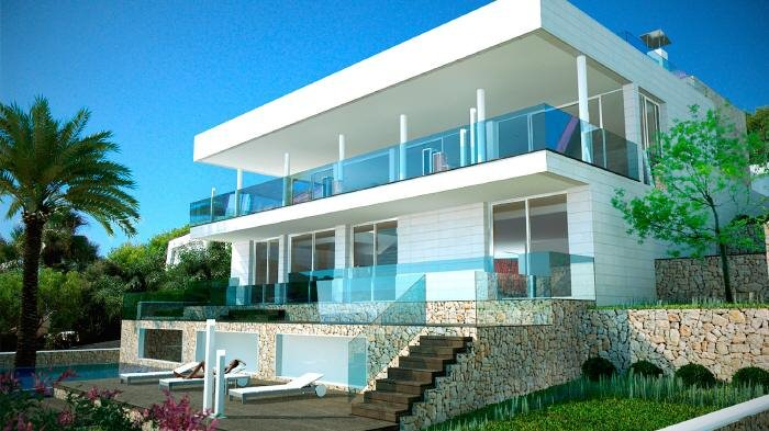 "Real Estate in 07589  Provensals : Mallorca: Modern villa with ""Panoramic sea view"" - Picture 1"